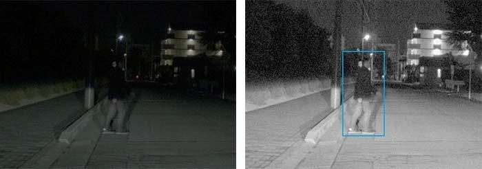 夜間・歩行者の認識性能イメージ(肉眼:左、新型画像センサー:右)