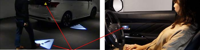 ドア開け時のセンサー連動表示(車外センサー領域進入時に点滅)