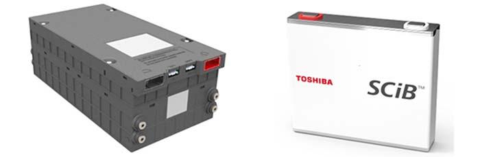 今回採用された電池モジュール(右)と「SCiB」セル(左)