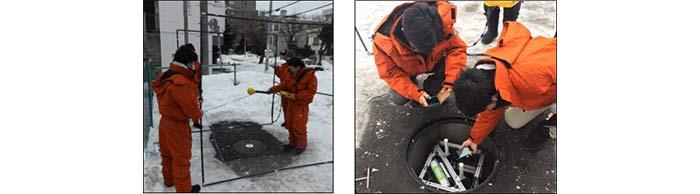 上段:マンホール型基地局のイメージ/下段:基地局からの電波強度測定風景