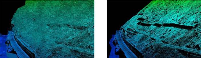 図:鬼怒川法面の3次元点群データ(左) と地表面処理を行った3次元点群データ(右)