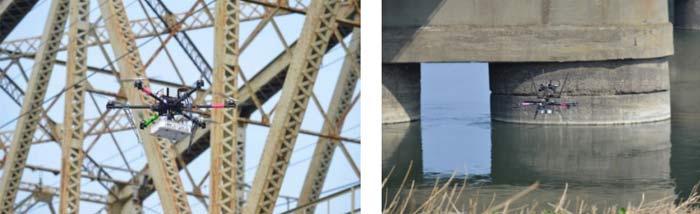 利根川橋梁における実験の様子
