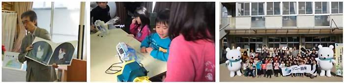 そらべあ基金による地球温暖化に関するワークショップ(写真左)、子どもたちによる発電体験(写真中央)、記念撮影(写真右)