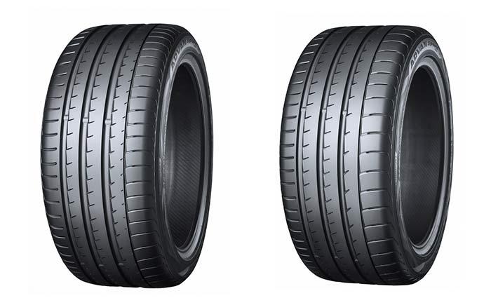 左:新型BMW「M5」に装着された「ADVAN Sport V105」の275/40ZR19 (105Y)。右:新型BMW「M5」に装着された「ADVAN Sport V105」の285/40ZR19 (107Y)