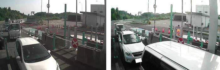 常磐富岡料金所での混雑状況の変化(午前7時の様子) 左:混雑時の様子。右:解消後の様子 6/2 カード利用率約85%