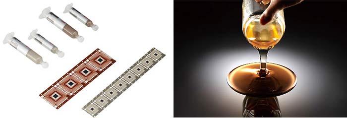 ダイアタッチペースト(左)とワニス(右)