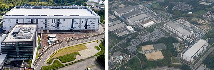 左:四日市工場の第6製造棟とメモリ開発センター。右:四日市工場(右下の建物が第6製造棟