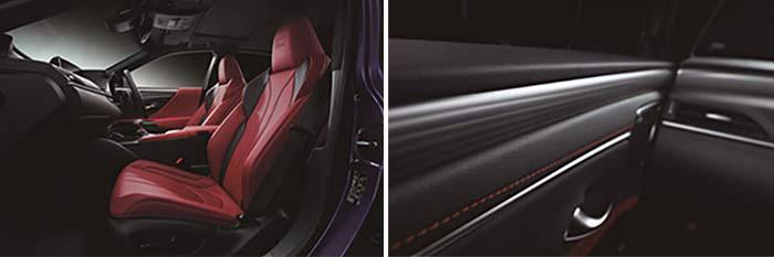 """(左) ES300h """"F SPORT""""(インテリアカラー:フレアレッド)<オプション装着車> (右)""""F SPORT""""専用オーナメントパネル(本アルミ〈刃取調仕上げ/シルバー〉)"""
