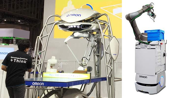 卓球ロボット「フォルフェウス」(左)と、自走型協調ロボット(右)