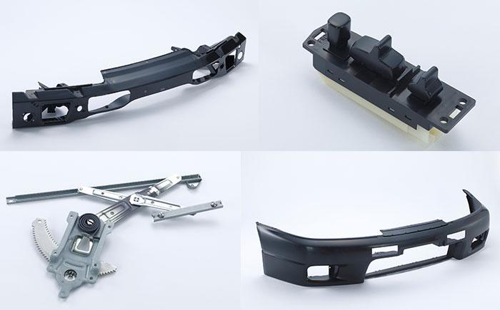 上段左:バンパー レインフォース。上段右:パワーウィンドウ スイッチ。下段左:ドアウィンドウ レギュレータ。下段右:フロントバンパー