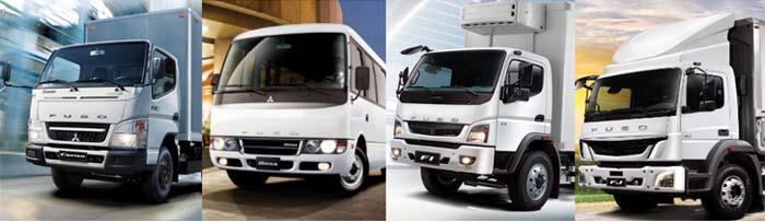 フィリピンで販売しているふそうブランドのトラック、およびバス