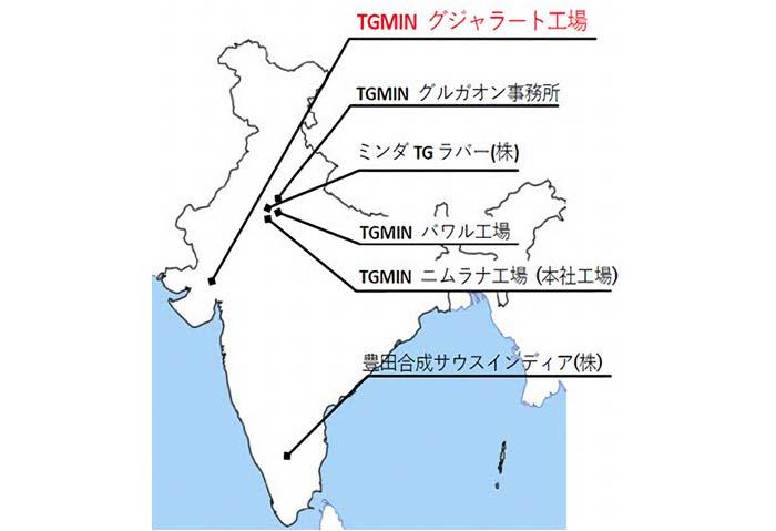 豊田合成のインドにおける事業体制(3社6拠点)