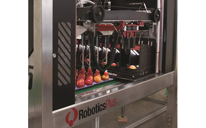 ロボティクス・プラスのリンゴの自動パッキング機