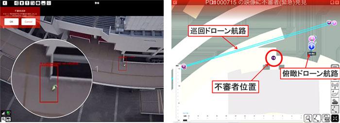 不審者検知の様子(左)と、地図上に表示される不審者位置(右)