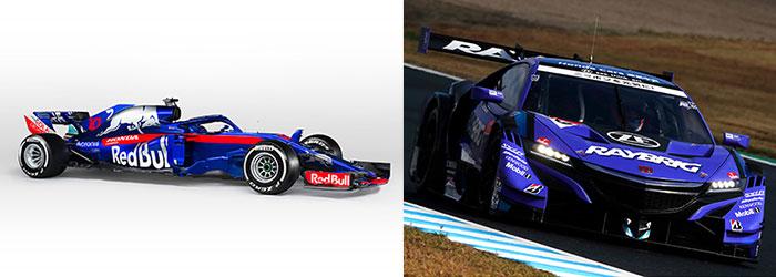 左:STR13。右:RAYBRIG NSX-GT #100