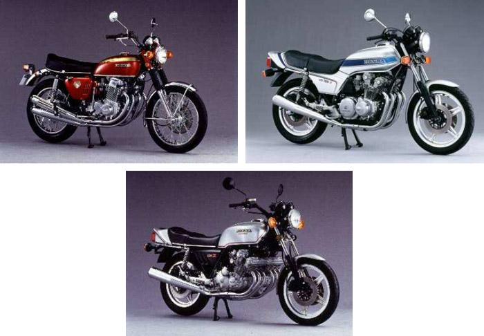 上段左:ドリーム CB750FOUR('69)。上段右:CB750F('79)。下段:CBX('79)