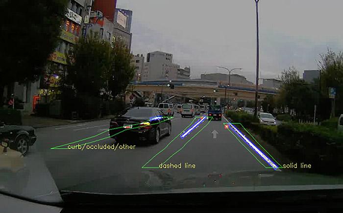 カメラ撮影した画像データを元にしたCARMERAの対象物検出イメージ