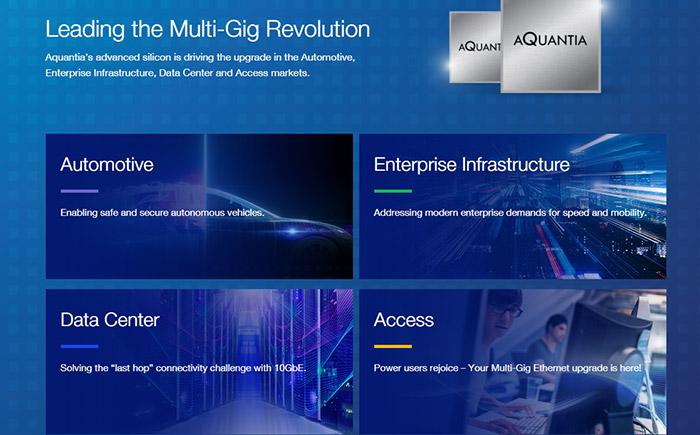 Aquantia社のホームページ