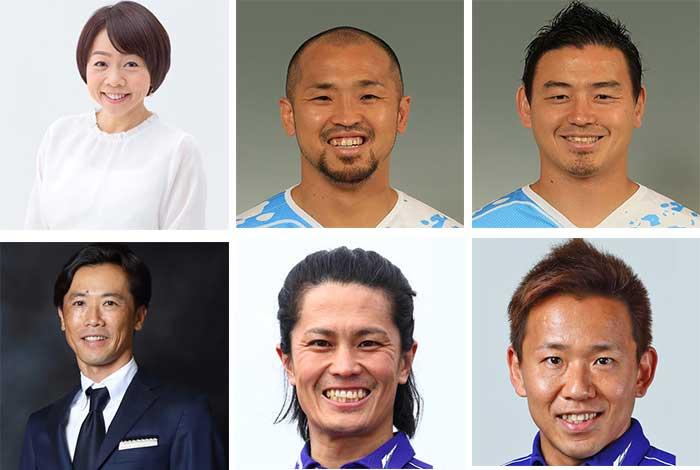 上段左から、久保ひとみ氏、矢富勇毅選手、五郎丸歩選手。下段左から、藤田俊哉氏、黒山健一選手、中須賀克行選手