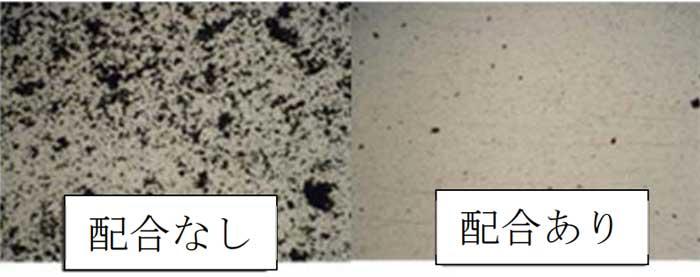 ポリスチレン板上での汚れ付着の様子:黒部分が汚れ(カーボン粉)