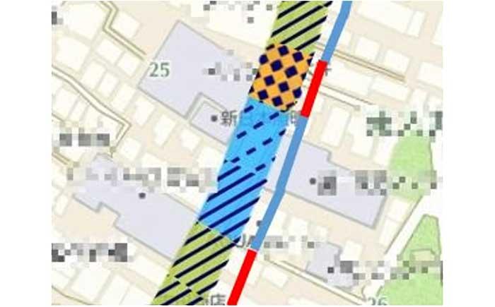 平坦性、ひび割れ、わだち掘れの情報表示イメージ (地図Copyright:2013 ZENRIN CO., LTD. )