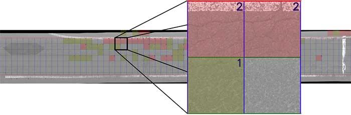 一辺50cmのメッシュを自動生成し、ひび割れの本数をAIが自動判別