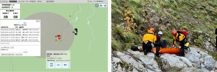 実証実験の模様(左:電波発射による在圏情報表示画面、右:消防隊による救助訓練)