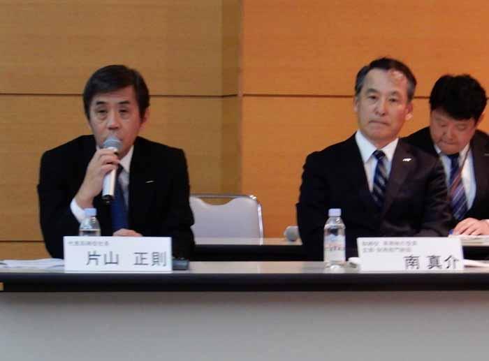 いすゞ決算説明会で質問に答える片山社長
