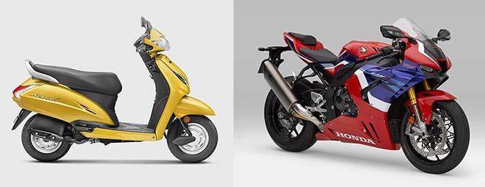 2019年式、インド生産のActiva(左)と日本生産のCBR1000RR-R FIREBLADE SP