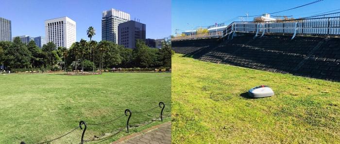 日比谷公園(左)と新中川暫定係留所(右)