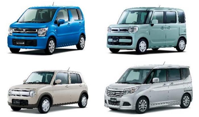 提供車種。ワゴンR(上左)、スペーシア(上右)、ラパン(下左)、ソリオ(下右)