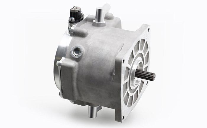 開発中の電動モーターユニット(35kWクラス)。タイトル画像は、ユニット活用イメージ