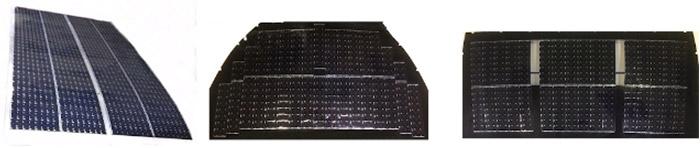 図1 複数の太陽電池セルにより構成された太陽電池パネル(左からルーフ、フード、バックドア)