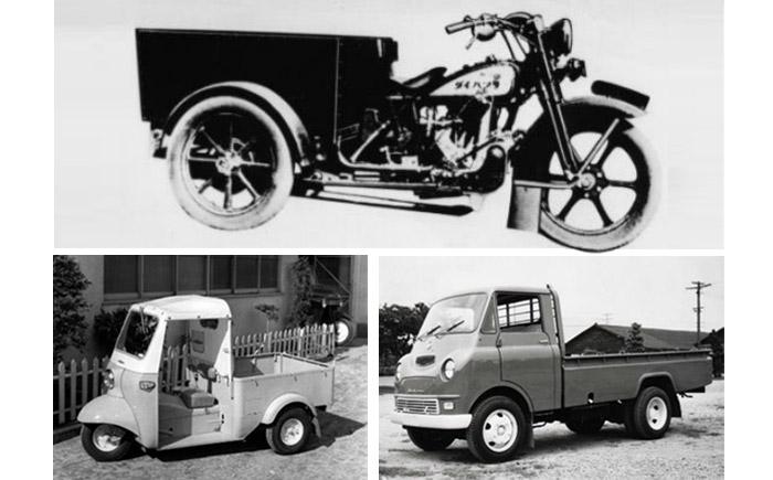 初の三輪自動車「ダイハツ号(HA型)」(上段)と、初の軽三輪自動車「ミゼット(DKA型)」(下段左)、初の小型四輪自動車「ベスタ」(下段右)