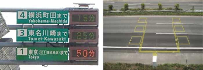 所要時間情報の提供例(写真左)と路面に埋め込まれた車両感知器(写真右)