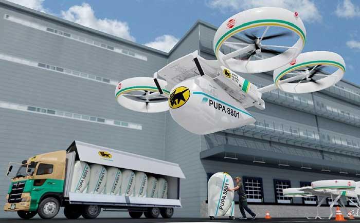 (図1)YHDが開発してきた物流eVTOL用貨物ユニットPUPAの一機種で、シリーズ中最大の搭載可能重量(約400kg)を持つ機体。
