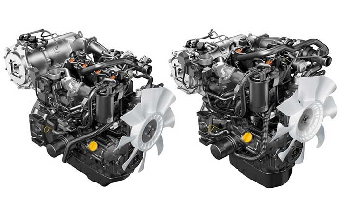 立形水冷ディーゼルエンジン「4TN86CHT」(左)と「3TN86CHT」(右)。