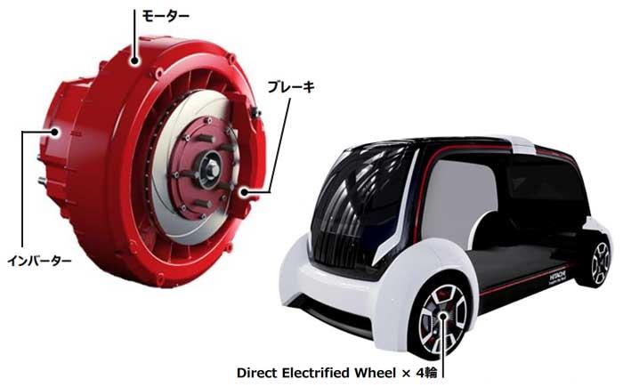 画像左:ダイレクト駆動システム「Direct Electrified Wheel」(赤色部分をホイール内部に搭載)。右:「Direct Electrified Wheel」をホイール内部に搭載したEV(モックアップ)。